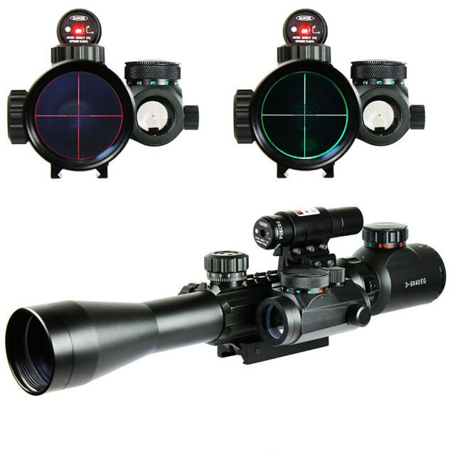 Optics Guns 3-9X40EG Illuminated Rifle Scope+ROT Laser JG8+Holographic Dot Sight