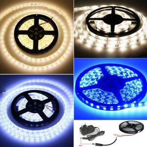 LED-3528-SMD-White-Warm-Blue-Strip-Light-Kit-Tape-12V-Waterproof-Adaptor-UK-Plug