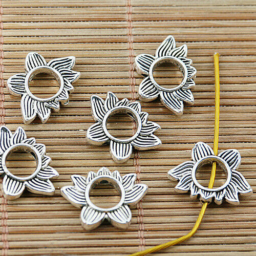 36pcs tibetan silver 2sided lotus flower design spacer charms EF1458