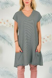 6a22729342 Masai Dress Size M Women Designer Short Sleeve Stripes V Neck Grey ...