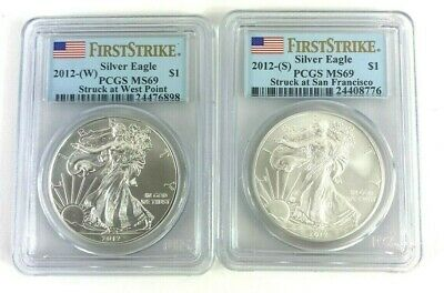 NGC MS 70 /& MS69 Trolley Label 2 Coin Set 2012- American Silver Eagle S