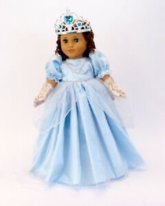 Doll-Clothes-18-034-Dress-Cinderella-Blue-Gloves-Tiara-Fits-American-Girl-Dolls