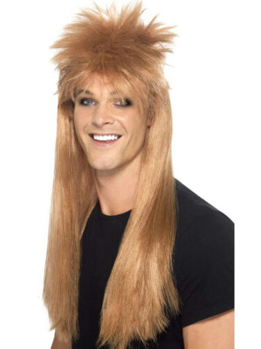 Smiffy's Men's Brown 80's Rocker Mullet Wig