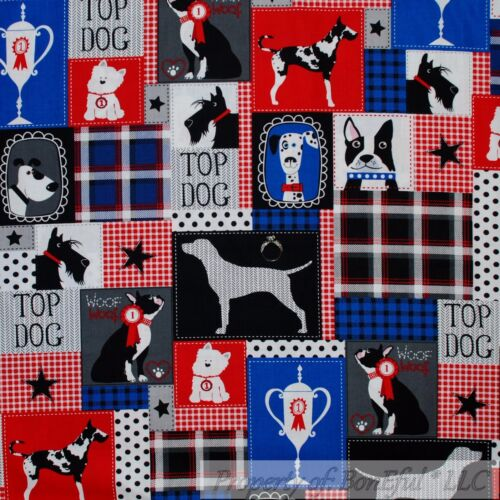 BonEful Fabric FQ Cotton Quilt Blue Yellow Black White B/&W Dog Bone Cartoon Head