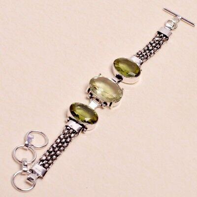 """Fashion Jewelry Green Amethyst,peridot Gems Handmade Bracelet Sz 7.5"""" Jewelry 0320"""