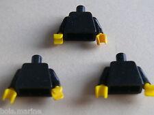 Lego 3 torses set 375 7815 672 7740 / 3 black  torso from minifig