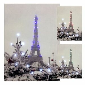 led wandbild mit beleuchtung pariser eifelturm im winter leuchtbild 15 x 21 cm ebay. Black Bedroom Furniture Sets. Home Design Ideas
