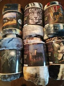 "By Northwest Wildlife Royal Plush RASCHEL Blanket Throw 50"" X 60"" Super Soft"