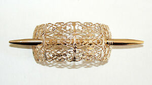 SALE-Filigree-Vintage-Hair-Clip-Pin-West-Germany-Light-Weight-Never-Worn-Gold-B