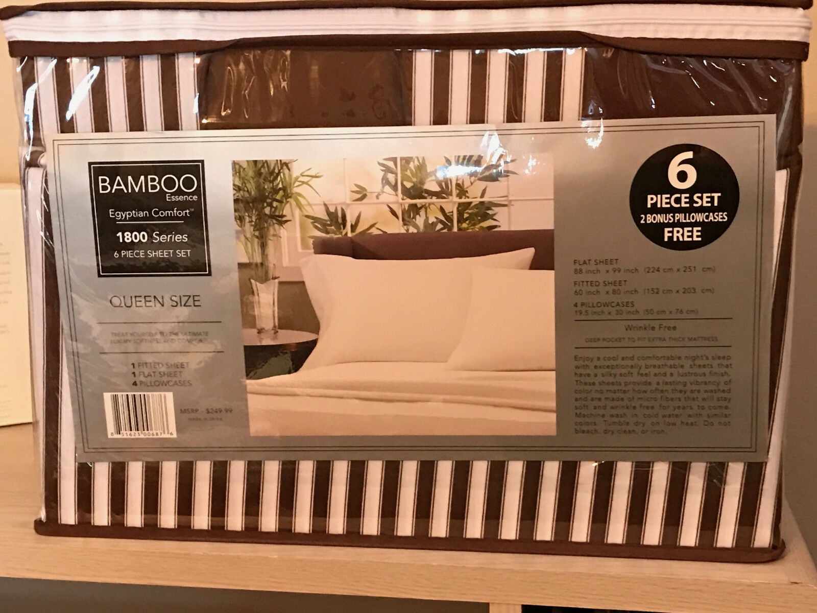 Queen Size Bamboo 1800 Count 6 pc Bed Sheet Set Striped Brown & White
