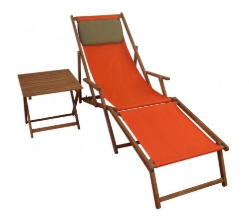 Chaise longue Bois Massif Chaise longue Deckchair Terracotta Pied Coussin Table 10-309 ftkd