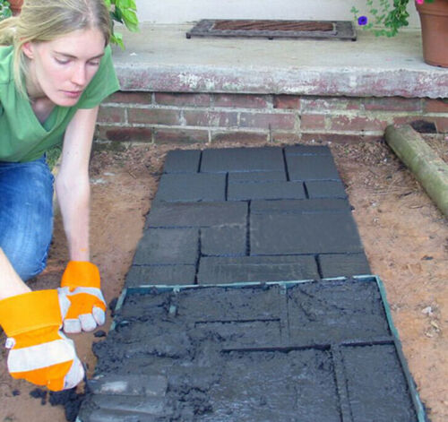 Driveway Paving Pavement Mold Patio Concrete Stepping Stone Path Walk Maker DIY