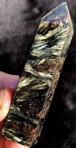 80-94g Gold Flash Russian Astrophyllite With Garnet /& Pyrite Point Healing yh002