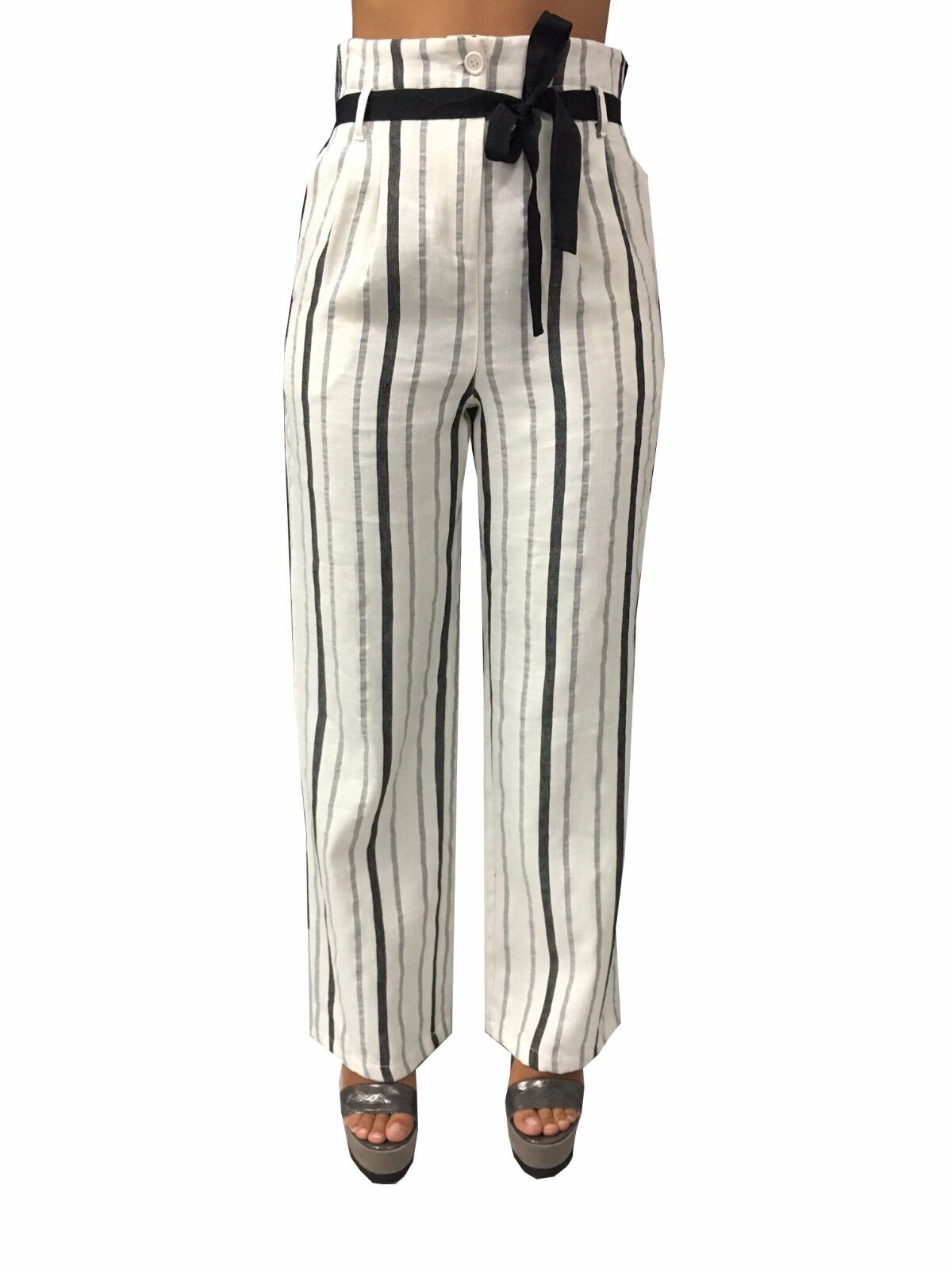LA FEE MARABOUTEE Damenhose hohe Größe weiß Streifen schwarz 54% Baumwolle 46%