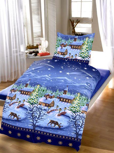2 tlg. Bettwäsche Thermofleece 135x200 cm Winterlandschaft Blau warm kuschelig