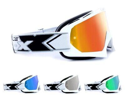 Two-x Race Mx Crossbrille Enduro Dh Occhiali Motocross A Specchio Bianco Solid- Numerosi In Varietà