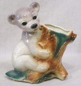 Vintage-Royal-Copley-Grey-Bear-on-Stump-Planter-8-034-in-height