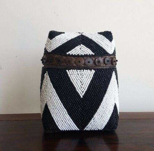 """SALE 20%"", Basket, beaded, blackwhite, decorative, tribal, M, storage, decor"