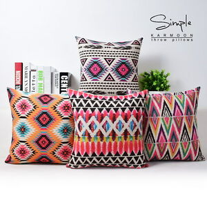 Aztec-Bohemia-Geometric-Abstract-Cotton-Linen-Pillow-Case-Cushion-Cover-18-034-x18-034