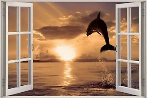 Huge-3D-Window-view-Exotic-Dolphin-Ocean-Wall-Sticker-Film-Decal-Wallpaper-S53