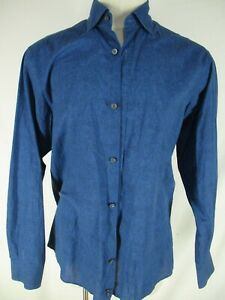 Ermenegildo-Zegna-Mens-Blue-Long-Sleeve-Cotton-Shirt-L-Recent