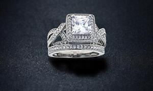 Image Is Loading Princess Cut Cubic Zirconia Bridal Ring Set Size
