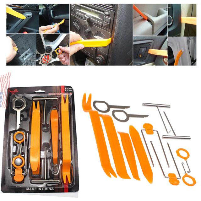 12Pcs Car Radio Door Clip Panel Trim Dash Removal Plastic Audio Tool Set Pry Kit