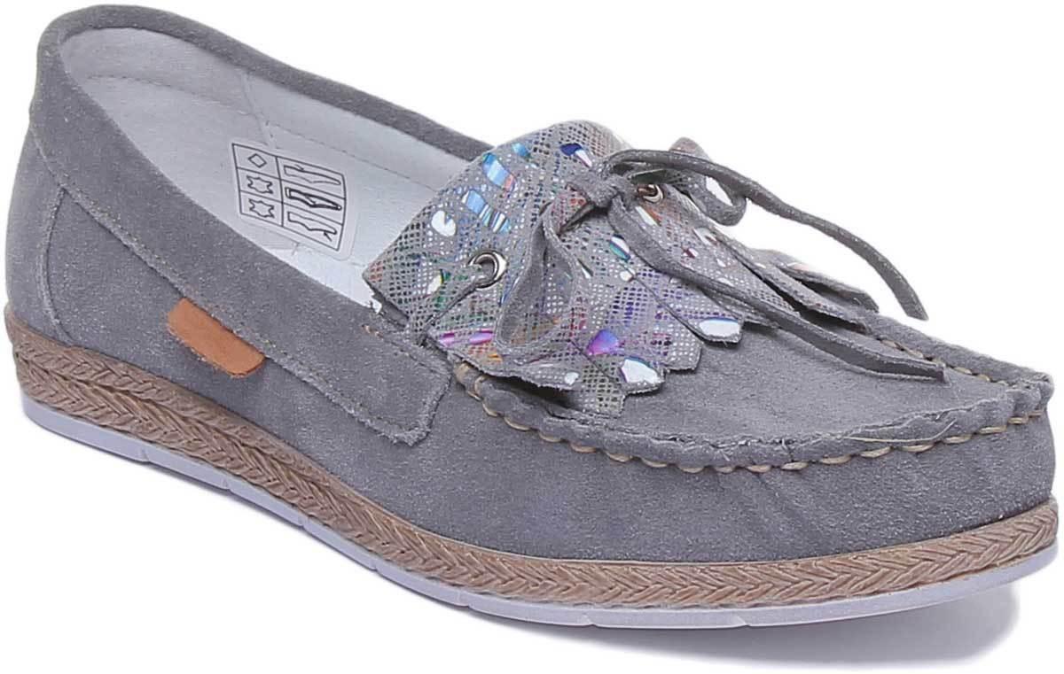 Justin  Reece Nala donna Suen Leather Lofer Fringe scarpe grigio Dimensione UK 3 - 8  vendite dirette della fabbrica
