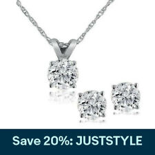 Diamond Solitaire Necklace & Studs Earrings Set 3/4 Carat tw 14K White Gold