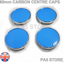 60mm Carbon Sky Blue Wheel Centre Hub Caps UNIVERSAL VW Audi Seat Skoda Subaru