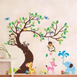 Hibou-Elephant-Singe-Arbre-Autocollant-Mural-Jungle-Zoo-Decal-Chambre-Nursery-Garcon-Fille
