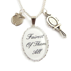 SNOW-WHITE-Fairest-of-them-all-charm-necklace-silver-fairy-tale-whimsical-Disney