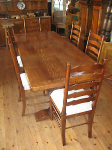 Oak-Refectory-Dining-kitchen-Table-and-6-Oak-Ladder-Back-Chairs-Solid-Oak