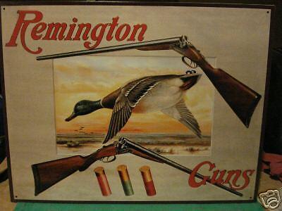 New Tin Sign- Remington Guns- Mallard Duck and Rifles- Made in USA
