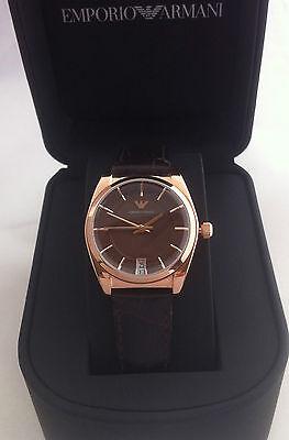 Emporio Armani Classic Retro Watch Rose Gold Brown Leather Ar0378 Bnwt Neue Sorten Werden Nacheinander Vorgestellt Armbanduhren