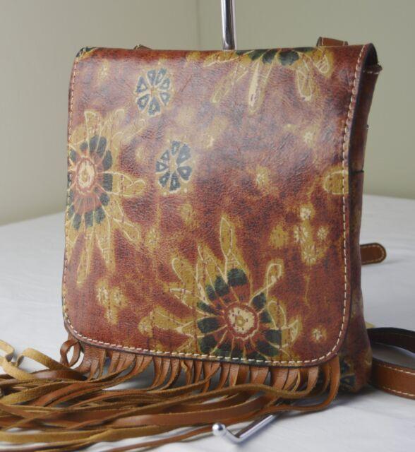 Patricia Nash 70s Revival Fl Granada Fringe Boho Crossbody Bag