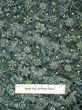 Christmas Snowflake Batik Fabric 100% Cotton By The Yard Batavian Batik Teal