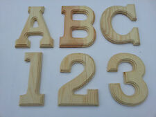 """6"""" High X 1/2"""" Thick Natural Pine Wood Letter Number Unpainted Sign Decor Wall,"""