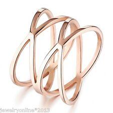 1 Damen Ringe Fingerringe Bandring Verlobungsring Netz Rosegold 17.3mm
