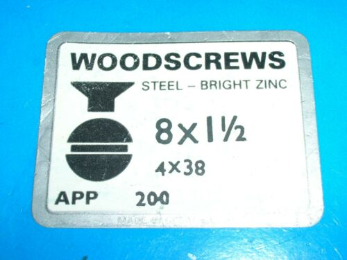 "Slotted Countersunk Wood Screw Zinc Plated Unifix pack 100 8 x 11//2/"" 4 x 38 mm"
