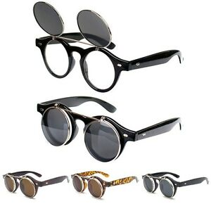 Cool-Flip-Up-Lens-Steampunk-Vintage-Retro-Style-Round-Sunglasses-Tortoise-Gold