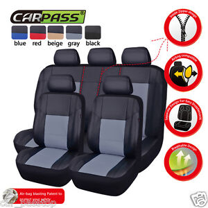 Universal-Car-Seat-Covers-Leather-Grey-Black-Fit-Airbag-Split-Rear-for-SUV-Sedan