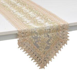 Joy Café Home Decor 100% polyester brodé Table Runner avec dentelle