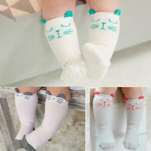 1 par recién nacidos rodilla alta calcetín calcetines bebé anti slip