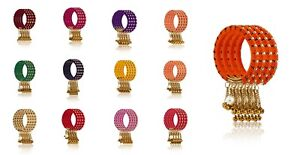 indian-bangles-set-of-4-silk-thread-wrapped-designer-with-long-bells-and-pearl