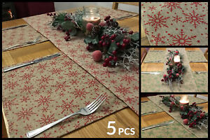 5-Piece-Christmas-Snowflake-Dinner-Table-Place-Mats-And-Runner-Set-Green-Red