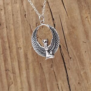 Sterling silver egyptian isis wing goddess pendant necklace image is loading sterling silver egyptian isis wing goddess pendant necklace mozeypictures Gallery