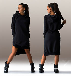 New-Women-039-s-Loose-Hoodie-With-Cap-T-Shirt-Long-Sleeve-Mini-Dress-Tops-Blouse-2