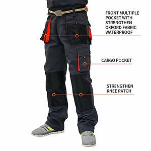 UK-Mens-Work-Trousers-Heavy-Duty-Pants-KneePad-Cargo-Combat-Style-Multi-Pockets