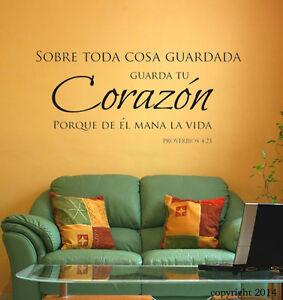 Image Is Loading Guarda Tu Corazon Spanish Christian Vinyl Wall Decal
